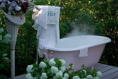 i want an outdoor tub/shower, in my large back yard, of my home in the woods, where no one can see me relaxing......someday