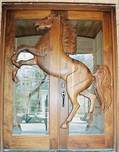Custom Doors - horses - wood carving