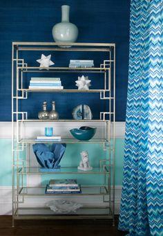 worlds away etagere, blue walls, hampton design house 2012