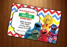 sesame street Invitation Birthday party Personalized Digital File U Print  yellow blue red modern elmo cookie moster big bird chevron. $12.99, via Etsy.