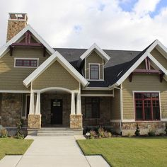 For cottage update - Maybe darker brown siding but with red like this on windows  Exterior Painted Cedar Shake Design, Pictures, Remodel, Decor and Ideas - page 4