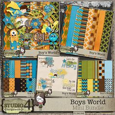 """Digital Scrapbooking Studio Boys World Mini Bundle - Grab all the mini packs under one great little Mini Bundle. You will receive 2 separate 12-pack papers, all 12"""" x 12"""", 300 dpi. One mini kit which contains 22 - 300 dpi png ellies, and 8 - 12"""" x 12"""" - 300 dpi, worn png papers. Also included is"""