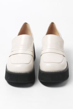 Leather Platform Loafer Ivory - http://www.thewhitepepper.com/collections/shoes/products/leather-platform-loafer-ivory