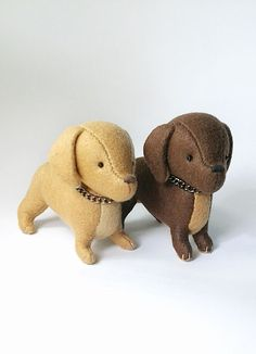 Dachshund Collectible Doll Handmade Light Brown by Whimsylandia, $34.50