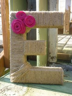 Twine Wrapped Letter E with Felt Flowers