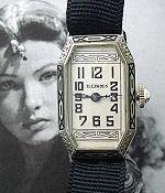 Exceedingly rare ladies solid 18k white gold and enamel wire-lug Illinois wristwatch in an original Illinois presentation box, circa 1929.