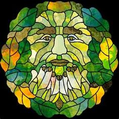 Green Man in glass