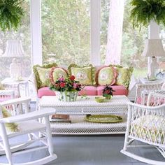 shabby chic style, outdoor rooms, green, wicker furniture, white, pink, front porches, screened porches, sunroom