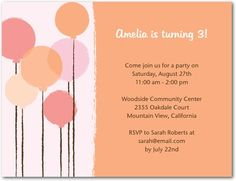 Studio Basics: Birthday Party Invitations Simple Balloons - Front : Orange Sherbet