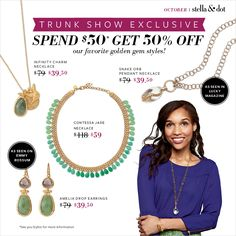Stella & Dot Exclusive through Oct. 31st.  Shop this link www.stelladot.com/ts/gaok5 and get 50% OFF of any or ALL of these items pictured!!!  Hurry stock is limited!  Stock up for Holiday gifts!!