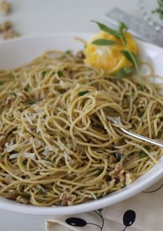 meyer lemon pasta with fresh herbs and toasted walnuts