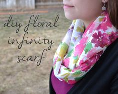 #DIY Floral Infinity Scarf from @Erin B Colburn {magenta&lime}   Fabric from Joann.com