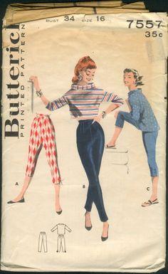 Butterick 7557 capri pants buttoned at leg