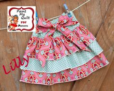 "Girls skirt Pattern PDF Make a  Ruffle skirt with this Easy Sewing Tutorial PDF E-Pattern skirt sizes 6m through to 10 years ""Lilly Skirt"". $4.50, via Etsy."