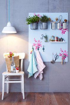 DIY kitchen shelf.