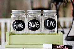 give, save, live jars