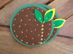 Handmade felt coasters~ little trees