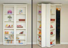 Sliding bookshelves instead of closet doors