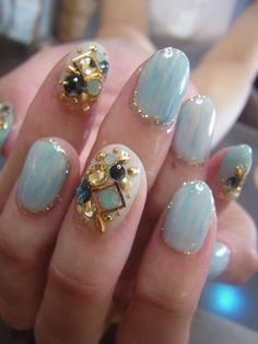 Blue 3D Nail Art