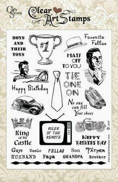 Favorite Fellas Clear Stamp Sets are on SALE for just $9.95 and include 20 Stamps!  Also includes links for DT Challenge, a Great Giveaway and Linky Party.