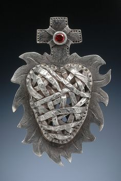MILAGRO HEART  ©2008 Lorena Angulo  Hand sculpted in pure silver