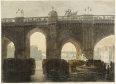 A moment in time... Old London Bridge, c1794 after it was stripped of its houses in the 1760s, by Joseph Mallord William Turner. Tate