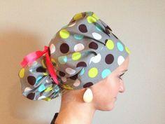 Gray polka dot bouffant surgical scrub hat