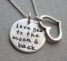 love you to the moon and back. silver necklaces, moon, gift, heart, daughter, sterling silver, jewelri, quot, kid