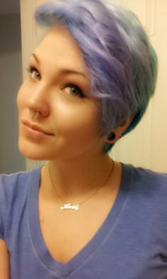 Pastel mint and lilac hair