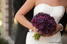 purple hydrangeas and plum ranunculus