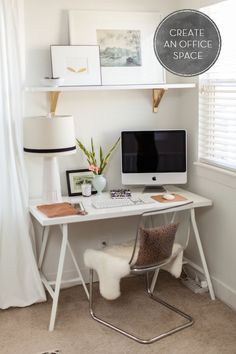 Simple office space with a shelf