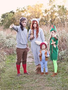 Peter Pan and the Lost Boys family Halloween costumes.