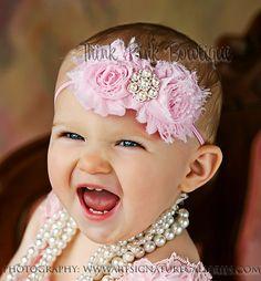 beautiful headband for baby pink flowers, baby girl headbands, baby headbands, flower headbands, shabby chic, babi, baby girls, hair bows, kid
