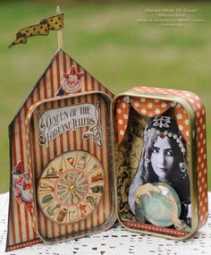 Circus in a box!  Amazing scrapbooking / paper art / decoupage altered tin box .