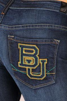 LOVE. // OCJ Apparel | Premium Collegiate Denim | #Baylor Bears Skinny Jeans Branded in Deep Indigo