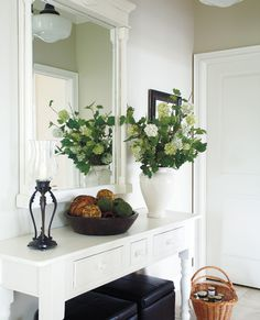 entry.white.benches.flowers.mirror