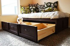 I'd love to replace our futon with this to gain the extra storage!  DIY Furniture Plan from Ana-White.com  Free plans to build an easy daybed with storage trundle drawers! Gain tons of storage with this clever design!