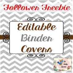 This is a follower FREEBIE that includes ten covers that are completely editable!  Use them for all your binders to create matching organization by colors.