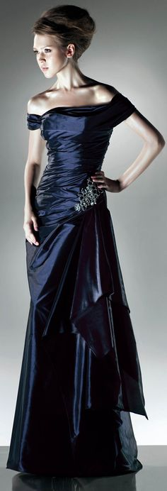 Off shoulder floor-length taffeta dress=
