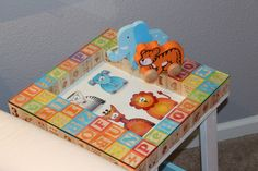 This Alphabet Table was made out of a $12 side table from Walmart! #nursery #DIY