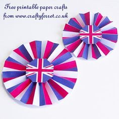 Free to print and make Union Jack Jubilee paper rosettes.