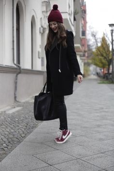 Black and burgundy...       http://www.allaboutallaboutallabout.com/ hats, casual winter, bordeaux, street styles, nike sneakers, shoe, fashion women, black, nike blazers outfit