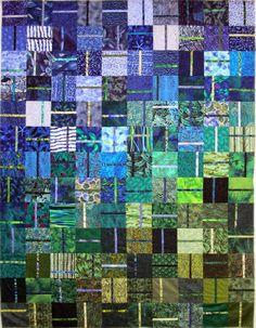 Green Blue sliced squares quilt by Wanda Hanson | Exuberant Color