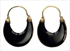 1830s Georgian French Jet Creole Earrings