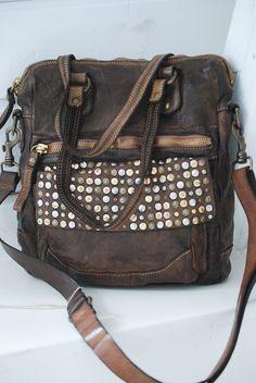 Leather studded bag.
