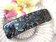 Rainbow Black Barrette  Medium /Large Barrette   by ccvalenzo, $22.00