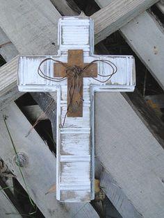 Medium Distressed Painted Wood Cross by MagnoliaMarket on Etsy, $22.00