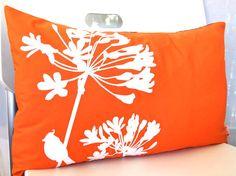 Orange Cardinal on Agapanthus Rectangle Pillow by joom on Etsy, $28.00 rectangl pillow, orang pillow