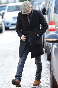 Stylish coat, hat, and jeans