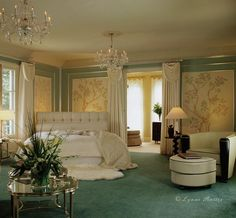 Art Deco Chinoiserie Bedroom.  A little like a hotel room, but pretty.